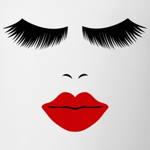 White Fashion Face Silhouette, Red Lips, Lashes--DIGITAL DIRECT ONLY! T-Shirts - Coffee/Tea Mug