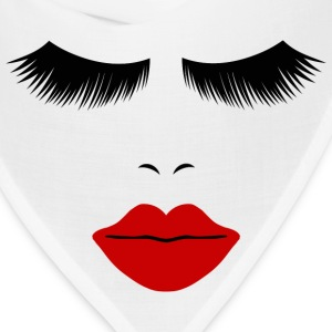 White Fashion Face Silhouette, Red Lips, Lashes--DIGITAL DIRECT ONLY! T-Shirts - Bandana