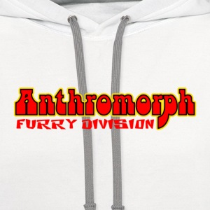 White Anthromorph Furry Division Furries T-Shirts - Contrast Hoodie