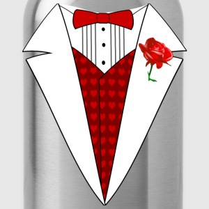 Valentine's Day Tuxedo T-Shirt, Red Heart w/ Rose - Water Bottle