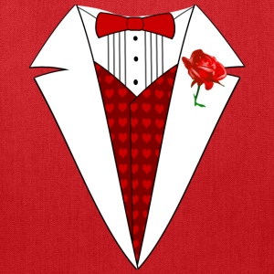 Valentine's Day Tuxedo T-Shirt, Red Heart w/ Rose - Tote Bag