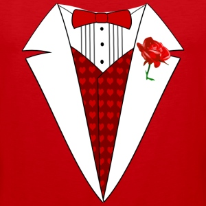 Valentine's Day Tuxedo T-Shirt, Red Heart w/ Rose - Men's Premium Tank