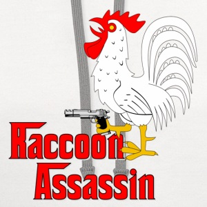 White Raccoon Assassin Rooster T-Shirts - Contrast Hoodie
