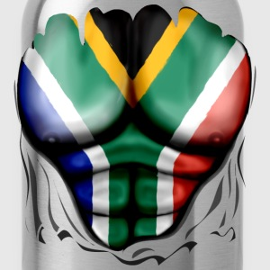 South Africa Flag Ripped Muscles, six pack, chest t-shirt - Water Bottle