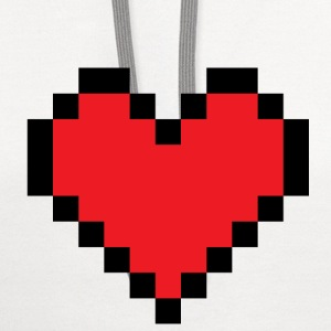 White huge pixel heart T-Shirts - Contrast Hoodie