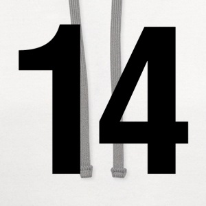 helvetica number 14 T-Shirts - Contrast Hoodie