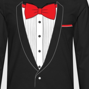 Fake Tuxedo Red Tie T-shirt - Men's Premium Long Sleeve T-Shirt