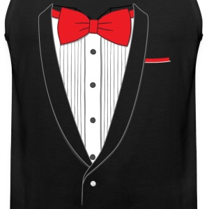 Fake Tuxedo Red Tie T-shirt - Men's Premium Tank