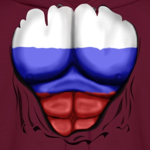 Russia Flag Ripped Muscles, six pack, chest t-shirt - Men's Hoodie