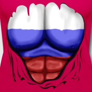 Russia Flag Ripped Muscles, six pack, chest t-shirt - Women's Premium Tank Top
