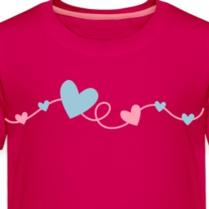 pretty hearts on a curly line Kids' Shirts - Toddler Premium T-Shirt