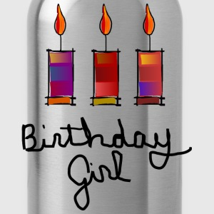 Birthday Girl With 3 Multi-Color Candles--DIGITAL DIRECT PRINT Kids' Shirts - Water Bottle