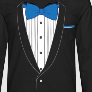 Fake Tuxedo Blue Tie T-shirt - Men's Premium Long Sleeve T-Shirt