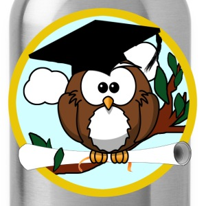 Cute Cartoon Owl with Graduation Cap and Diploma - Water Bottle
