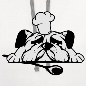 A pug with a chef's hat and wooden spoon T-Shirts - Contrast Hoodie