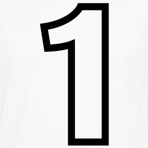 Condensed Number 1 Outline (1c)++ T-Shirts - Men's Premium Long Sleeve T-Shirt