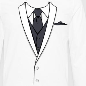 Tuxedo T Shirt White Long Tie - Men's Premium Long Sleeve T-Shirt