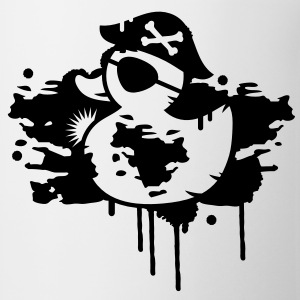 A rubber duck pirate with a pirate hat and eye patch as a graffiti T-Shirts - Coffee/Tea Mug