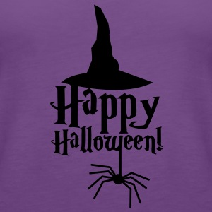 HAPPY HALLOWEEN with a spider and witches hat cute! T-Shirts - Women's Premium Tank Top