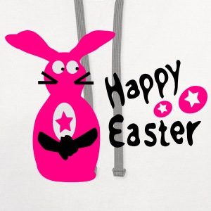 Happy Easter txt & easter bunny eggs Toddler T-Shirt - Contrast Hoodie