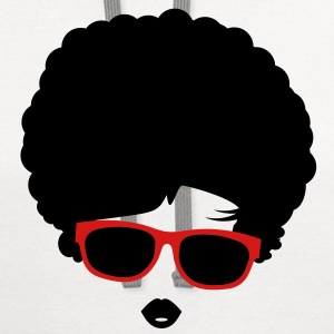 A girl with afro hairstyle and sunglasses T-Shirts - Contrast Hoodie