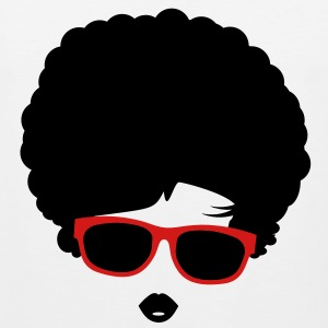 A girl with afro hairstyle and sunglasses T-Shirts - Men's Premium Tank