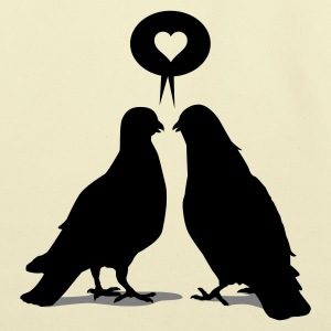 Love saying Doves - Two Valentine Birds 2c T-Shirts - Eco-Friendly Cotton Tote