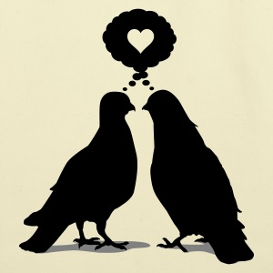 Love thinking  Doves - Two Valentine Birds 2c T-Shirts - Eco-Friendly Cotton Tote