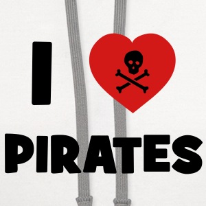 I Love Pirates T-Shirts - Contrast Hoodie
