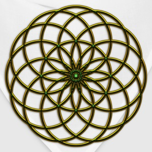 Flower of Life - Seed of Life - Tube Torus, DD gold-green, Sacred Geometry, Energy Symbol Women's T-Shirts - Bandana