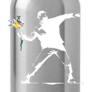 Flower Thrower White - Unofficial Banksy - Water Bottle