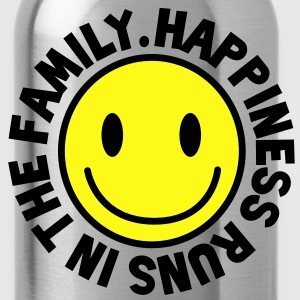 HAPPINESS runs in the FAMILY smiley T-Shirts - Water Bottle