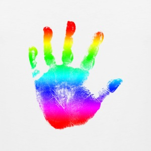Hand print - Rainbow - Imprint, Fingerprint, palm, high five perfect for hoodies, tshirts, tanks, iphone cases, ipad cases, etc!  T-Shirts - Men's Premium Tank