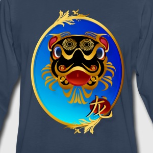 Black 'n' Gold Chinese Dragon with symbol-oval - Men's Premium Long Sleeve T-Shirt
