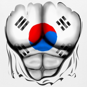 South Korea Flag Ripped Muscles, six pack, chest t-shirt - Men's Premium Tank