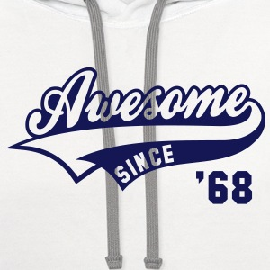 Awesome SINCE 68 Birthday Anniversary T-Shirt GW - Contrast Hoodie