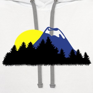 Landscape, Mountain, Wood, Forrest, Sun T-Shirts - Contrast Hoodie