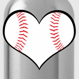 Women's Baseball Heart T-Shirt - Water Bottle