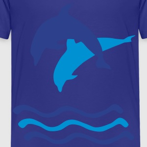 Dolphins & Wave, Kids - Toddler Premium T-Shirt