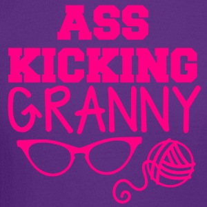 ass kicking granny with knitting ball of wool T-Shirts - Crewneck Sweatshirt