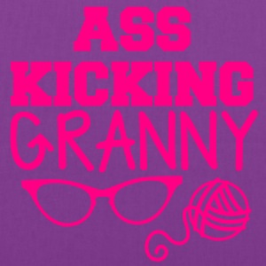 ass kicking granny with knitting ball of wool T-Shirts - Tote Bag