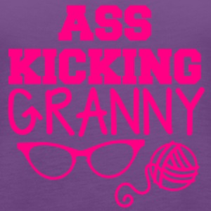 ass kicking granny with knitting ball of wool T-Shirts - Women's Premium Tank Top