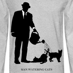 Man Watering Cats - Men's Long Sleeve T-Shirt
