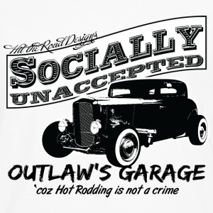 Outlaw's Garage. Socially unaccepted Hot Rods. - Men's Premium Long Sleeve T-Shirt