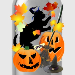 Halloween Black Kitty Batting Pretty Leaves - Water Bottle