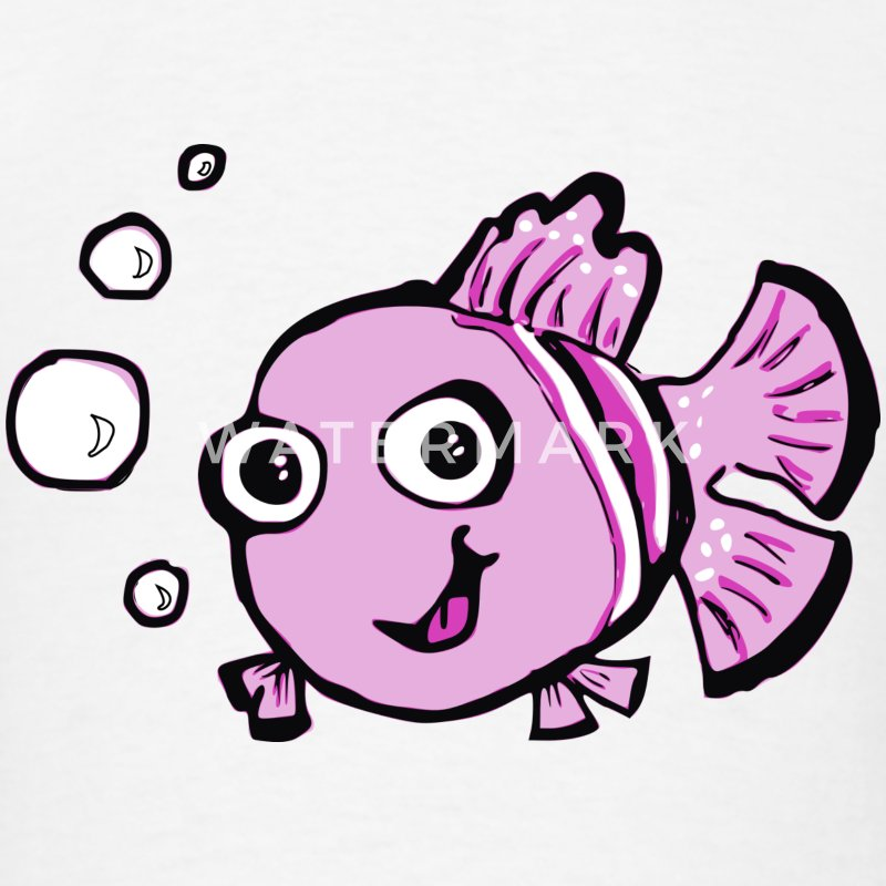 Cute Pink Cartoon Fish kids T-shirt - Men's T-Shirt
