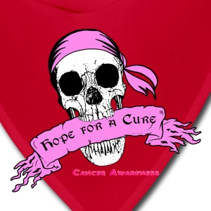 Hope For a Cure Skull Scroll Pink T-Shirts - Bandana