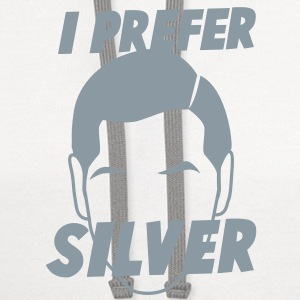 I PREFER SILVER male man face grey hair  Women's T-Shirts - Contrast Hoodie