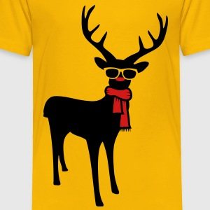 A reindeer with scarf and glasses Kids' Shirts - Toddler Premium T-Shirt