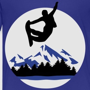 Snowboarder and Mountains, Snowboarding Kids' Shir - Toddler Premium T-Shirt